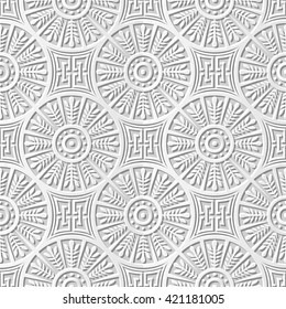 Seamless 3D white paper cut art background 412 round cross leaf geometry chain