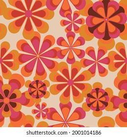 Seamless 70s retro floral pattern with vintage daisy flowers for fabric or wallpaper - Vector