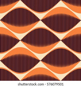 A seamless 70's Retro Style Pattern with comb fish eyes in orange and ivory