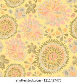 Seamless abstarct hand drawn floral pattern. Sun colors
