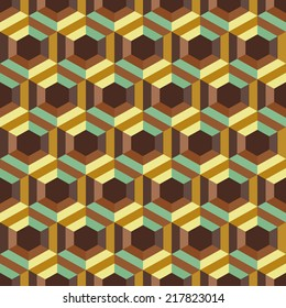 Seamless abstract 3d background with hexagonal elements. Vector illustration.