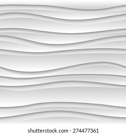 Seamless abstract 3D white striped background. Vector EPS10 pattern.