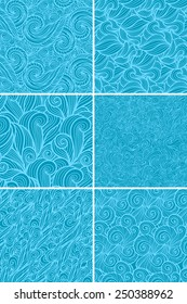 Seamless abstract background with curls and waves. Vector pattern collection. Set of 6 textures.