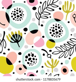 Seamless abstract background with flowers and leaves.
