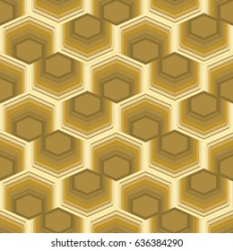 Seamless abstract background with hexagonal element, 3d optical art illusion in gold design