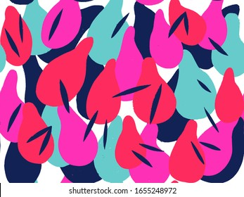 Seamless abstract background pattern in bright summer positive colors. Floral pattern with contour and fill in abstract forms.