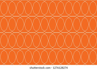 Seamless, abstract background pattern in decagon shapes made with lines in orange color. Decorative vector art.