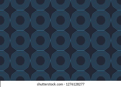 Seamless, abstract background pattern in decagon shapes made with lines in blue color. Decorative modern vector art.