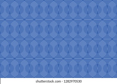 Seamless, abstract background pattern made with repetitive lines forming decagon shapes in blue color. Decorative vector art.
