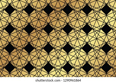 Seamless, abstract background pattern made with trapezoidal and rhombus geometric shapes in black and gold colors. Decorative vector art.