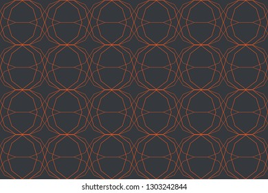 Seamless, abstract background pattern made with thin lines forming decagons in orange and grey colors. Decorative, futuristic vector art.
