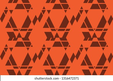 Seamless, abstract background pattern made with trapezoids shapes in orange and brown colors. Modern, decorative and geometric vector art.