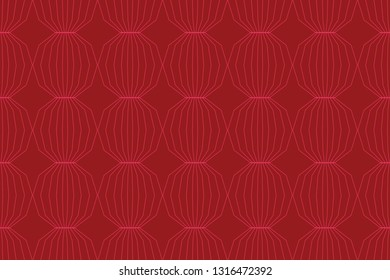 Seamless, abstract background pattern made with decagon shapes. Decorative, modern geometric vector art in tones of red color.