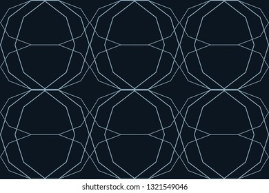 Seamless, abstract background pattern made with lines forming decagon shapes in technology abstraction. Modern vector art in blue color.
