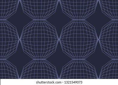 Seamless, abstract background pattern made with lines forming decagon shapes. Decorative, modern geometric vector art in tones of blue color.