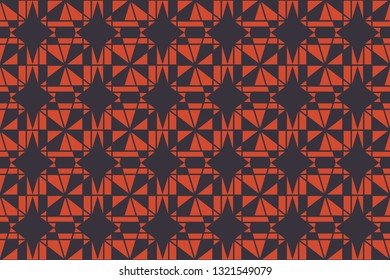 Seamless, abstract background pattern made with geometric shapes forming decagons in blue and orange color. Decorative vector art.