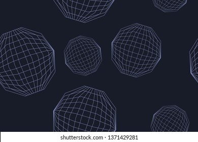 Seamless, abstract background pattern made with lines forming decagon shapes. Futuristic, modern geometric vector art in tones of blue color.