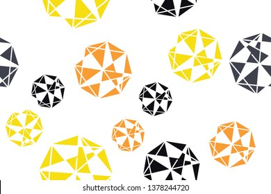 Seamless, abstract background pattern made triangle shapes forming decagons in technology abstraction. Decorative and geometric vector art in yellow, orange and black colors.