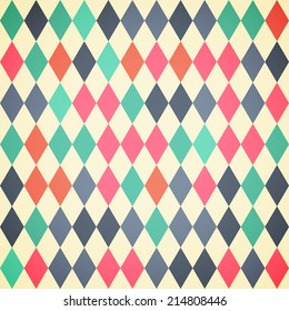 Seamless Abstract background with rhombuses in retro colors