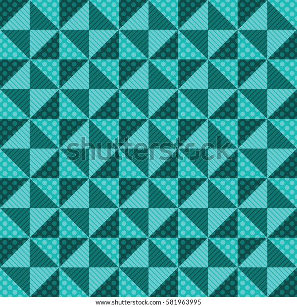 Seamless abstract background of squares, triangles, diamonds and circles