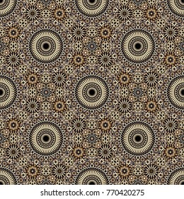 Seamless abstract background. Zellij moroccan pattern in beige color. Vector.