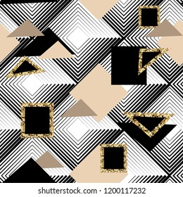 Seamless abstract background.Gold geometric patterns.
