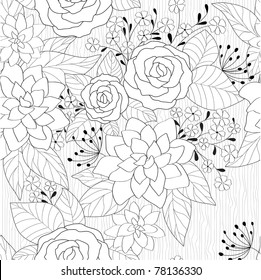 seamless abstract black and white floral background