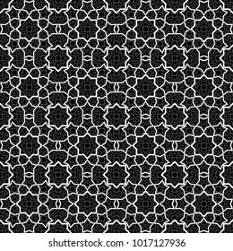 Seamless Abstract Black and White Geometric Pattern with Intersecting Polygons. Wicker Structural Texture in Arabic Style. Arabesque. Contrasty Optical Psychedelic Illusion. Vector Illustration