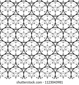 Seamless Abstract Black and White Geometric Pattern with Circles. Optical Cellular Psychedelic Illusion. Wicker Structural Texture. Vector Illustration