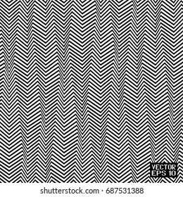 Seamless Abstract Black and White Geometric Pattern with Stripes. Optical Psychedelic Illusion. Wicker Structural Texture. Vector Illustration
