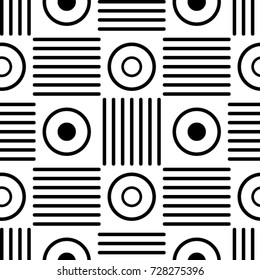 Seamless abstract black and white pattern made with ellipses and line blocks. Geometric background