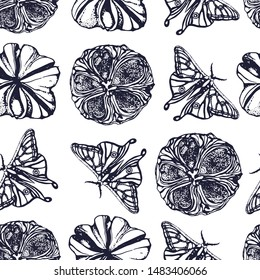 seamless abstract Botanical butterfly pattern and flower seeds hand drawing vector