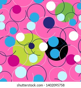 Seamless abstract bright pattern of circles and curls on a dark background