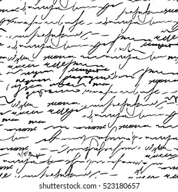 Seamless abstract calligraphy text pattern. Vector illustration with old writing.