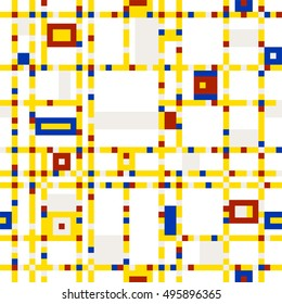 Seamless abstract colorful mosaic pattern - Mondrian emulation.