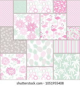 Seamless abstract colorful patchwork from tropical pattern. Vintage hand made quilt. Hand drawn background in pastel colors. Vector illustration