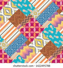 Seamless Abstract Faux Patchwork Quilt Background Pattern