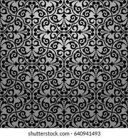 Seamless abstract floral pattern. Black vector background. Ornament for wrapping, wallpaper, tiles.