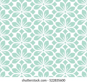 Seamless abstract floral pattern. Blue and white vector background. Geometric leaf ornament. Graphic modern pattern.