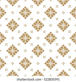 Seamless abstract floral pattern. Geometric leaf ornament. Graphic modern pattern. Gold and white vector background.