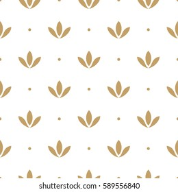 Seamless abstract floral pattern. Gold and white background. Geometric leaf vector ornament. Stylish graphic design.