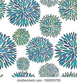 Seamless abstract floral pattern. Hand drawing vector ornament.