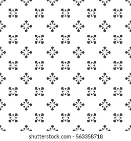 Seamless abstract floral pattern. Modern vector graphic. Black and white background. Geometric leaf ornament. Stylish graphic pattern.