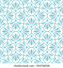 Seamless abstract floral pattern. Modern vector graphic. Blue and white background. Geometric leaf ornament