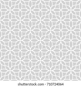 Seamless abstract floral pattern in oriental style. Vector grey and white background. Geometric ornament with leaves, east wallpaper