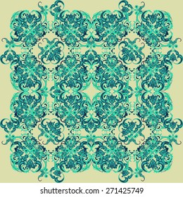 Seamless abstract floral pattern in shades of green