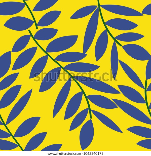 Seamless abstract floral pattern twigs and leaves. Vector illustraition