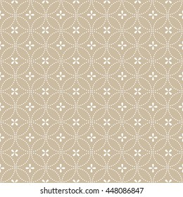 Seamless abstract floral pattern. Vector beige and white background. Geometric leaf ornament. Stylish graphic pattern.