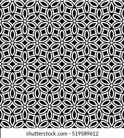 Seamless abstract floral pattern. Vector black and white background. Geometric leaf ornament. Stylish graphic design.