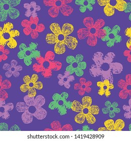 Seamless abstract flower floral repeat pattern design. Fun for all sorts of projects, like fabric design for kids.